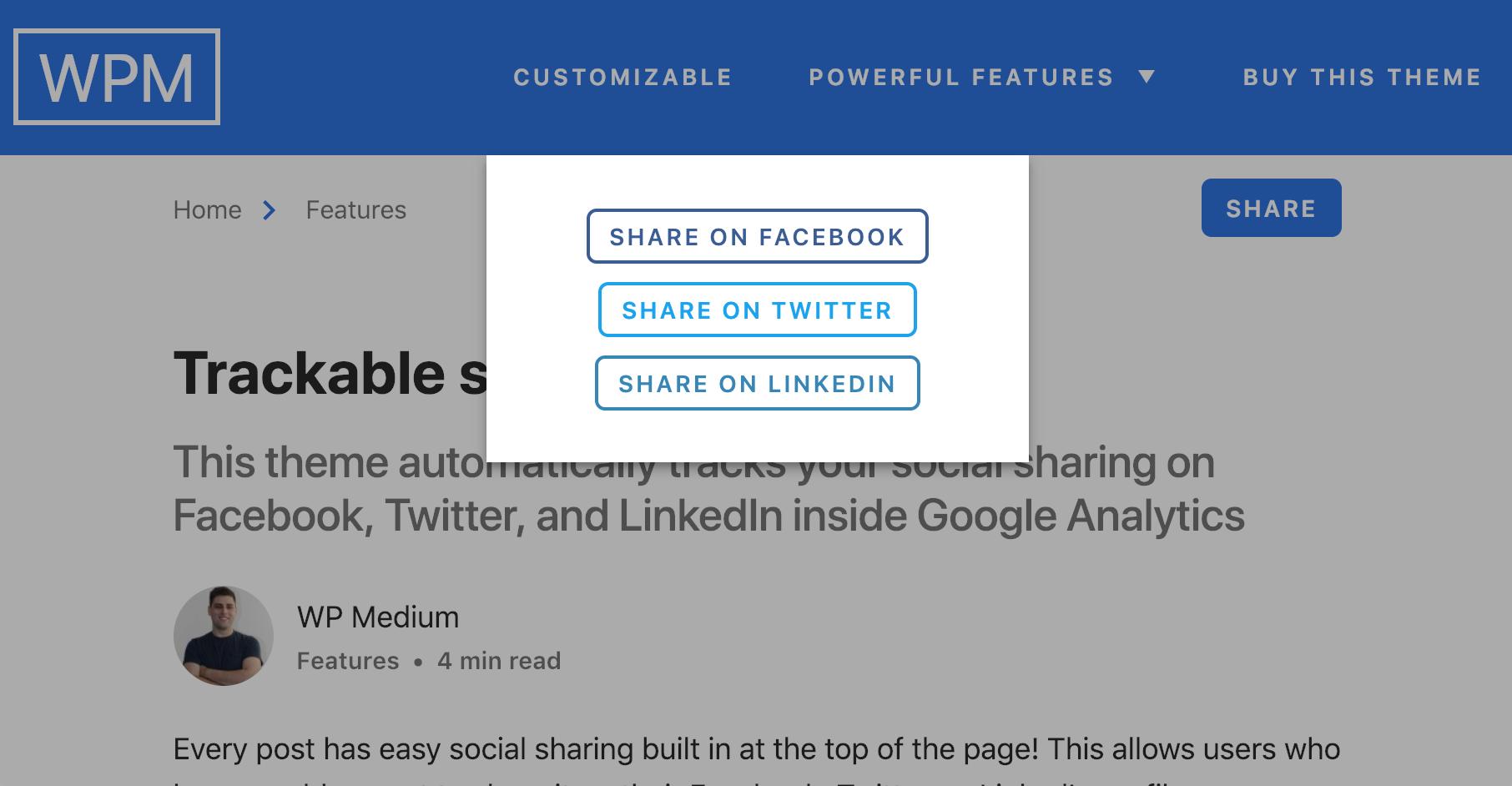 Trackable social sharing